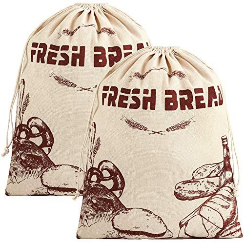 Ruisita 2 Stück Brotbeutel 39,6 x 49,6 cm Leinenbrotbeutel, um Brot frisch zu halten, natürlich, ungebleichtes Brot Aufbewahrungstasche