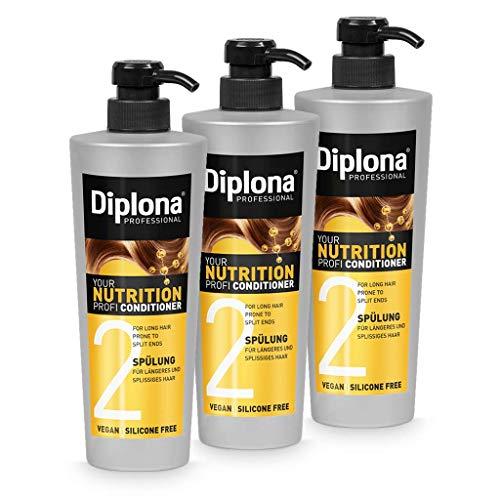DIPLONA Acondicionador para cabello más largo y abierto, tu acondicionador profesional para mujeres, vegano, sin silicona ni parabenos, cuidado del cabello para mujer, 3 unidades de 600 ml