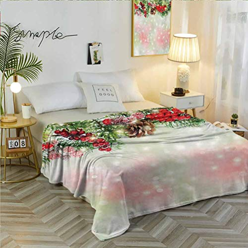 50' W x 60' L Christmas Flannel Printed for Couch Cover Evergreen Fir Branches with Red Ripe Holly Berries Blurred Backdrop Garland Red Green Brown