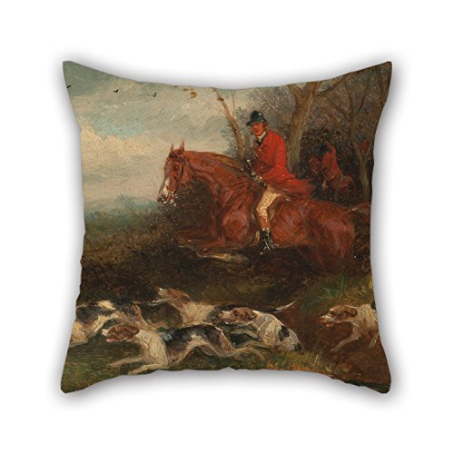 elegancebeauty Throw Pillow Covers Of Oil Painting William J. Shayer - Foxhunting- Breaking Cover 18 X 18 Inches/45 By 45 Cm,best Fit For Kids Room,car,wife,kids Room,family,dance Room Double Sid