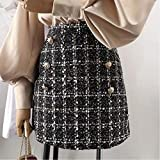 SHDSHD Falda de Tweed de Primavera para Mujer Nueva Falda Corta Elegante Coreana Blanca Negra Elegante Cintura Alta Cadera