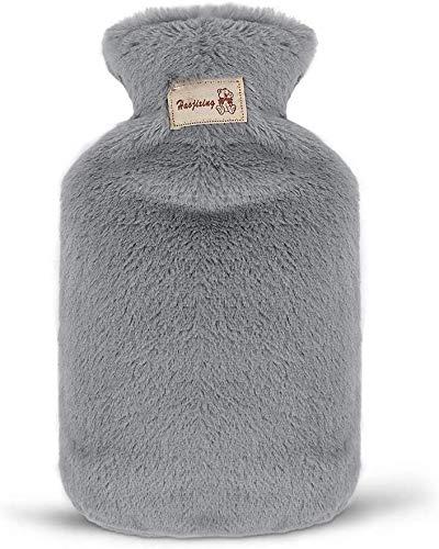 Wärmflasche mit Bezug, 800ML Wärmflaschen Super Soft Plüschbezug Sicher Und Frei Von Schadstoffen und Langlebig Wärmeflasche für lindert Schmerz, Bauchschmerzen, Krämpfe (Grau)