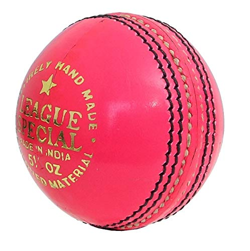 CW League Special Pink Cricket Ball Pack of 2 Cork Ball Youth & Adult Club Match Leather Ball Pink