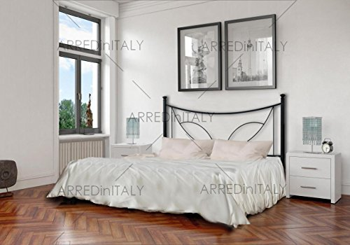 Letto Matrimoniale in Ferro Colore Nero Grafite con GIROLETTO PREDISPOSTO per Rete con Piedini 160 X 190 CM Non Inclusa Prodotto Made in Italy ARR062
