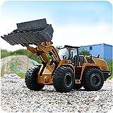 Excavadora control remoto adultos, excavadora de aleación 1/14 RC Camión de juguete de construcción de 6 canales 2.4G con efectos de luz y sonido, regalo de cumpleaños de vacaciones para niños