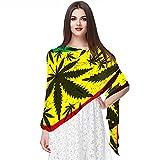 Bufanda de Gasa de Seda Suave para Mujer con Chales y Fular Hojas de marihuana coloridas Sirt a prueba de sol