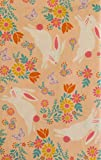 Easter Bunnies Hopping Among Flowers and Butterflies Vinyl Flannel Back Tablecloth (60' Round)