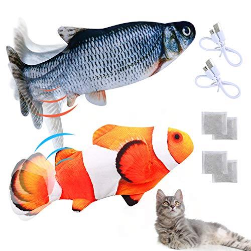 Morfone Katzenspielzeug Fisch Elektrisch Katzenspielzeug,2* USB Fisch Katzenspielzeug,Katzenspielzeug Elektrisch kann Wiederaufladbar und Waschbar,Fisch Spielzeug für Katzen Zum Beißen und Treten