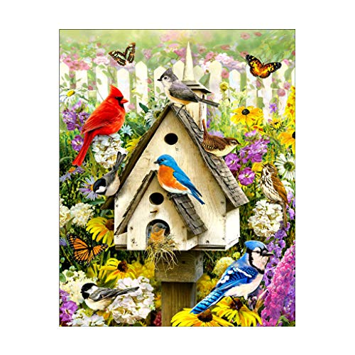 XIANGBEI Cuadro de diamantes 5D con diseño de flor de pájaro, bordado de punto de cruz, kit de decoración para el hogar, juego completo de diamantes de imitación