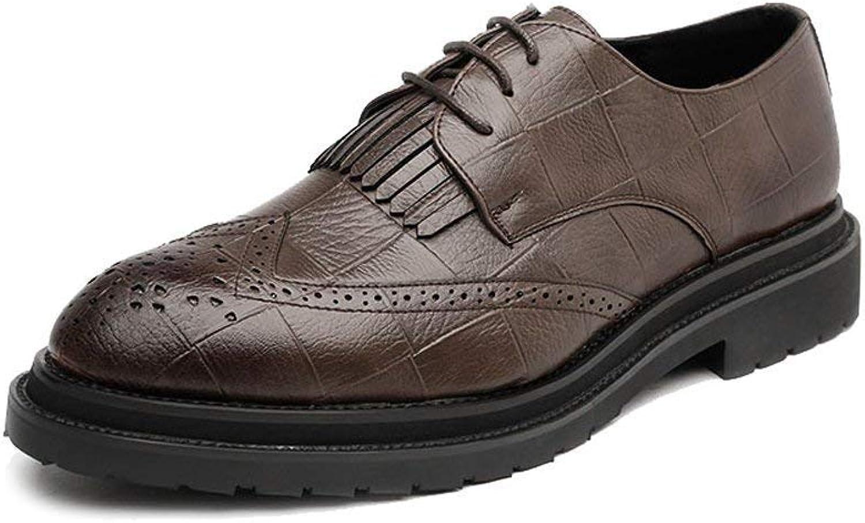 Hhgold 2018 Men's PU Leather Brogue shoes Classic Lace-Up Tassel Decoration Breathable Formal Business-padded Oxfords (color  Black, Size  44 EU) (color   Brown, Size   40 EU)