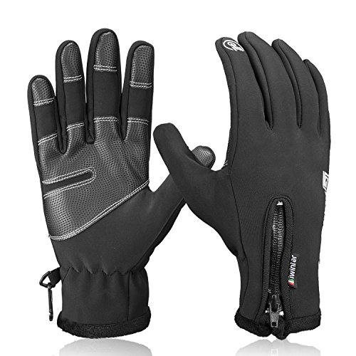 Anqier Winter Gloves, Touch Screen Windproof Warm Hand Gloves Cycling Gloves for Men and Women, Black, Medium