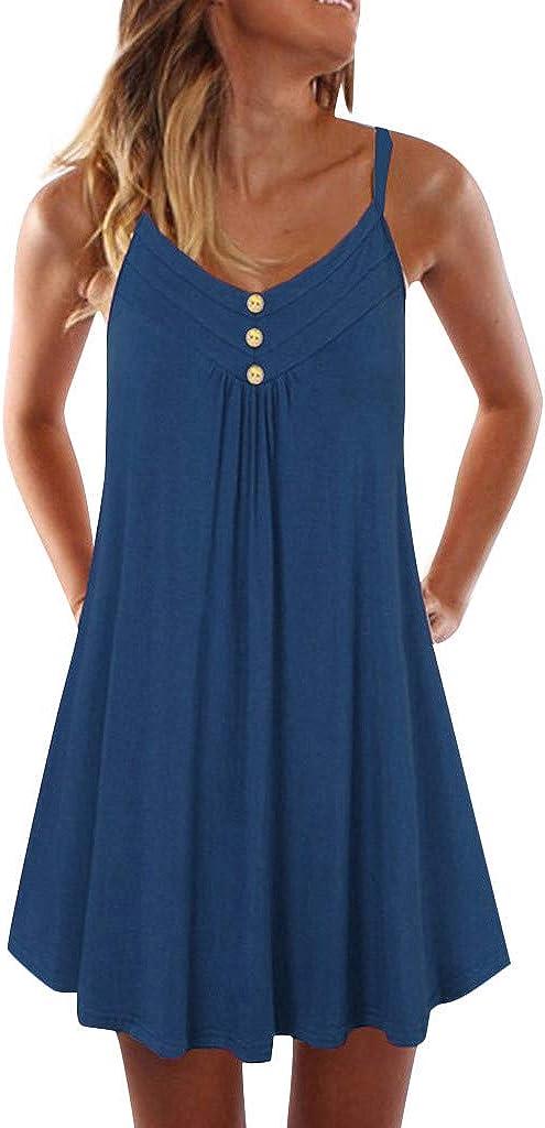 AODONG Summer Dress for Women,Womens V Neck Swing Dress Casual Summer Seaside Beach Dresses Folds Sleeveless Summer Sundress