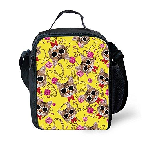 Showudesigns Zoo Animal Portable Sac repas enfants Petit pique-nique Nourriture Boîte à lunch, Polyester, Cat 2, Small