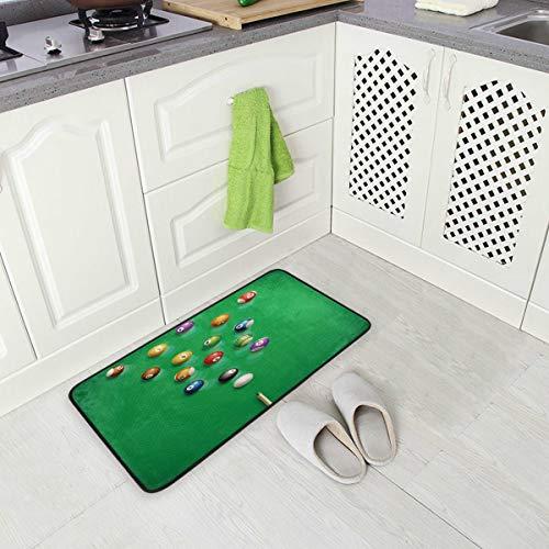 Mnsruu Billiard Table View Balls Sport Non Slip Kitchen Floor Mat Kitchen Rug for Entryway Hallway Bathroom Living Room Bedroom 50 x 100 cm(1.7' x 3.3')