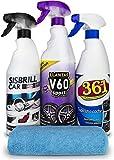 Sisbrill Kit Trío Esencial de Limpieza - Limpieza y Cuidado de Todo el Coche - Llantas, Cuero, Mosquitos, Tapicería