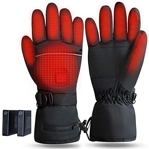 Fasola Guanti Riscaldati Moto con a Batteria Ricaricabile, Guanti Riscaldati Touch USB per Pesca, Sci, Bici, Caccia in Invernali, Guanti Termici Uomo e Donna con 3 Temperature Regolabili - M