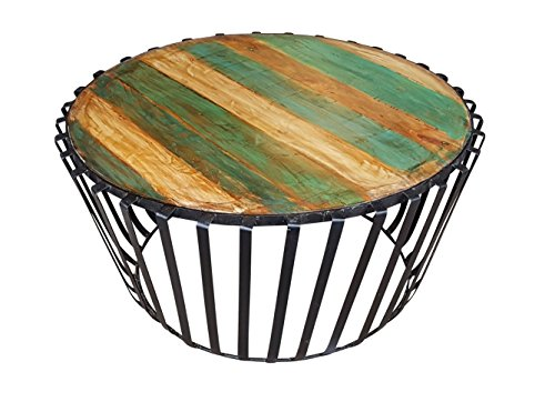 Stylla London® salontafel bureaustandaard ronde massief gerecycled hout woonkamer I massief hout ronde salontafel I industriële meubels voor woonkamer