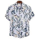 Camisa Hawaiana para Hombre - Funky Beach Shirt - Summer Funny Button Down Manga Corta Casual 3D Flower Camisas Estampadas Turn Down Collar Holiday Party Top Wea, Azul Claro, L