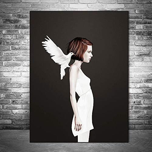 tzxdbh Meisjes met witte duiven Canvasafbeeldingen aan de muur poster en prints Modern canvas muurkunst foto's voor de woonkamer Cuadros 60x90cm ongeframed.