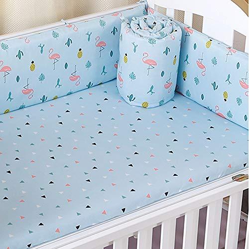 Cotton Collection Atmungsaktive Bettumrandung für Babybett, maschinenwaschbar, gepolstert, für Babys, Jungen und Mädchen, sicherer Schutz für Gitterbett