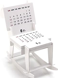DFYYQ 2020 Creative DIY Trojan Rocking Chair Shape Calendar Fun Spliceable Desk Calendar, 138x70x127mm Desktop (Color : White)