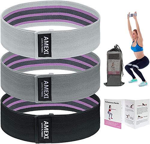 Bandas Elasticas Musculacion, Antideslizantes Bandas de Resistencia de Tela 3 Niveles, Cintas Elasticas para Gluteos, Cadera, Piernas, Brazos, Yoga, Pilates, Fitness