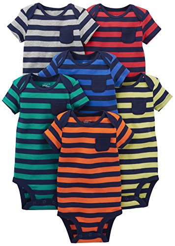 Simple Joys by Carter's Baby Boys' 6-Pack Short-Sleeve Bodysuit, Stripes, Newborn