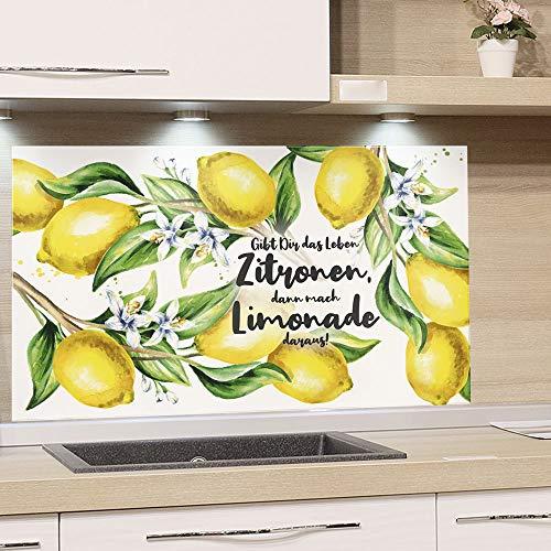GRAZDesign Spritzschutz Küche Herd, Zitronen mit Spruch, Küchenrückwand aus Echtglas / 100x50cm