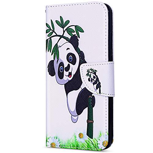 EUWLY Coque pour Galaxy J7 2017 Version Européenne Housse Coque à Rabat Magnétique Etui Protection Ultra-Mince Anti Choc Case avec Fonction Stand et Fentes de Carte de Crédit,Panda Bamboo