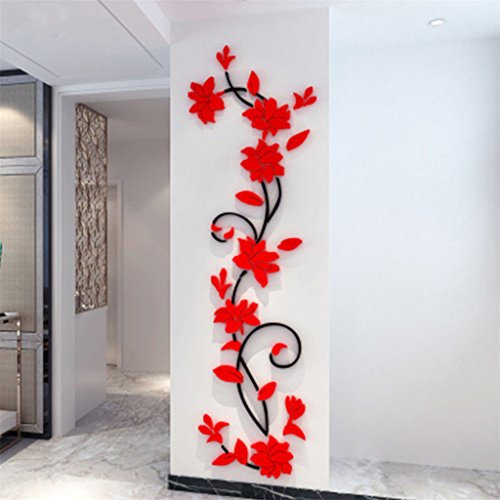 bismarckbeer 3D Romantic Rose Flower Removable PVC Wall Stickers Home Decal Living Room Decor (Red)