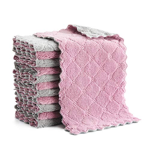 Microfiber Cleaning Cloth, Kitchen Towels, Double-Sided Microfiber Towel Lint Free Highly Absorbent Multi-Purpose Dust and Dirty Cleaning Supplies for Kitchen Car Cleaning. Pack of 12