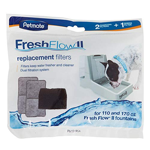 Petmate Fresh Flow II Purifying Pet Fountain Replacement Filters, Pack of 3 Filters