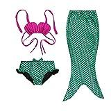 Little Girls 3 Pcs Mermaid Tail for Swimming Mermaid Bathing Suits Swimsuit Bikini Set, Green, Size 120(6-7Y)