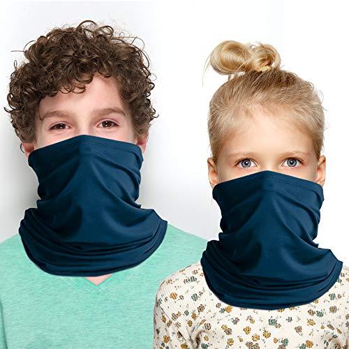 Kinder Schlauchtuch Jungen Mädchen Sommer Mundschutz Multifunktionstuch Waschbar Sport Motorrad Halstuch Biker Tuch Bandana Kopftuch - blau