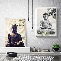 仏アートワーク絵画キャンバスポスター画像壁禅ポスター印刷仏ブダキャンバス絵画家の装飾のための70x100cmx2pcs非フレーム