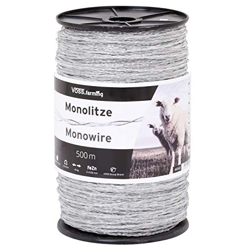 VOSS.farming 500m Monolitze Polydraht transparent für Weidezaun, Litze, Elektrozaun, für Lange und schwierige Einzäunungen geeignet, Schaaf, Rind, Ziege