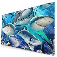マウスパッド かわいいサメおかしい 超大型 ゲーミングマウスパッド おしゃれ 防水 滑り止め 耐久性が良い 400x750x3mm