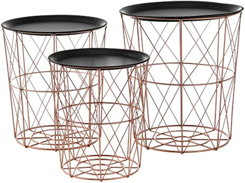 [en.casa] Metallkrbe im 3er Set Geeignet als Beistelltisch aus Metall in Kupferfarben