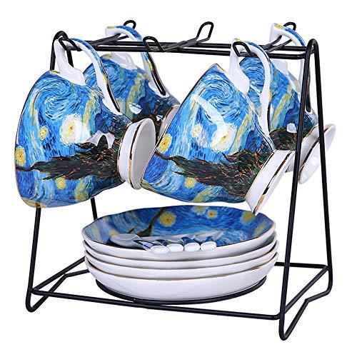 GAONAN Van Gogh Juego de café con Cup Holder, Juego de 4 Famosa Pintura cerámica de época Juego de té platillo Servicio de té, Fiesta del té de la Tarde, Juegos de té