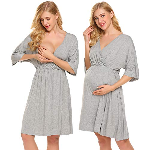 Ekouaer Nursing Gown Womens Hospital Nightgown Maternity Sleepwear,Flower Grey,Large