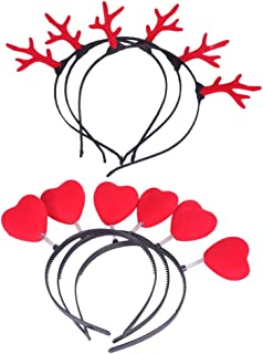 Minkissy 10pcs Christmas Headbands Antlers Heart Hair Hoop Party Headdress Headwear Hair Accessories for Girls Kids Children Valentines Day Party Holiday (Antlers and Heart for Each 5pcs)