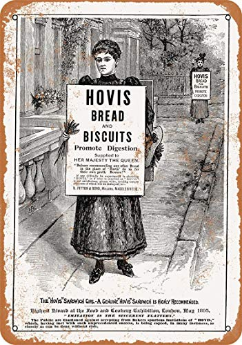 1895 Hovis Bread and Biscuits Vintage Look Metal Sign for Home Coffee Wall Decor 8x12 Inch