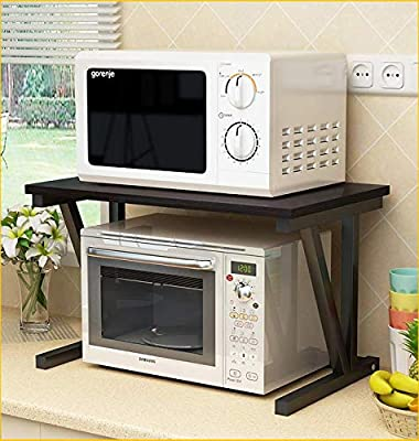 Raumeyun 2 Tier Microwave Stand wooden Storage Rack, Kitchen wooden Shelving Microwave Oven Baker's Rack with Spice Rack Organizer,A shelf for printers on desk. BLACK from