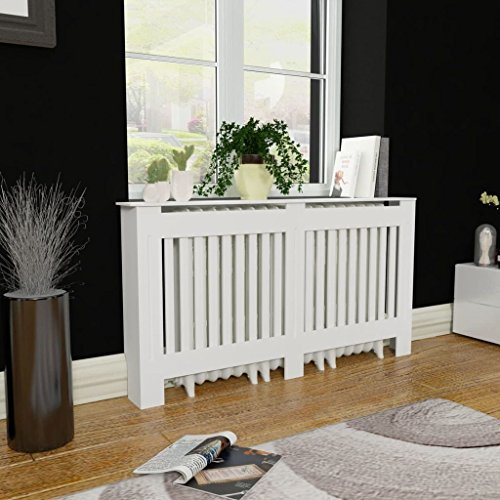 Lechnical Cubre radiador Blanco de Material MDF Cubierta de radiador de Armario Mueble para radiador Pintado con Rejilla Horizontal 152 cm