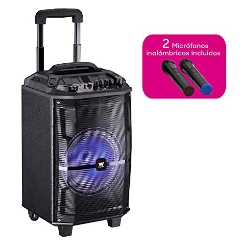 Woxter Rock'n'Roller XL - Altavoz trolley con función karaoke (100 W, display, bluetooth, lector SD/USB, AUX, prioridad mic, mando a distancia, batería de alta capacidad, X2 micrófonos inalámbricos)