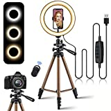 10.2' Selfie Ring Light with 50'' Extendable Tripod Stand, SIHEA Desk Led Circle Fill Light with Phone Holder for YouTube/TikTok/Makeup/Live Stream/Photography/Video,Compatible with iPhone/Android