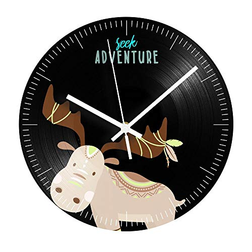 Cartoon Elk Vinyl Record Clock grote decoratieve woonkamer wandklok Modern Design Kids Birthday Gift-R982