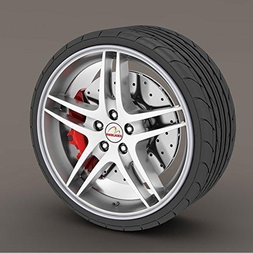 2018 Silver / Grey Rimblades Alloy Wheel Edge Ring Rim Protectors Tyres Tire Guard Rubber Moulding