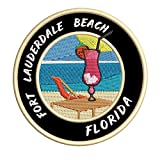 Fort Lauderdale Beach, Florida Strawberry Daiquiri Embroidered Premium Patch DIY Iron-on or Sew-on Decorative Badge Emblem Vacation Souvenir Travel Gear Clothes Appliques