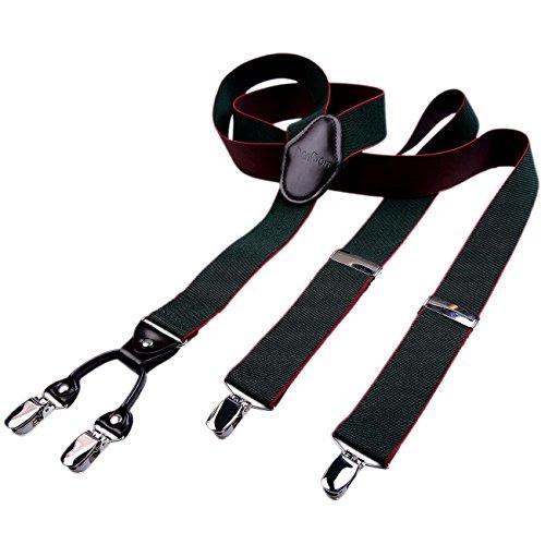 DonDon hombres tirantes 3,5 cm ancho 4 clips con piel cuero marrón de forma Y elástico y con longitud ajustable, Negro con borde Rojo